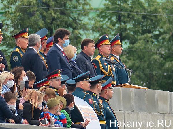 Александр Высокинский, Евгений Куйвашев, парад Победы в Екатреинбурге(2020)|Фото: Накануне.RU