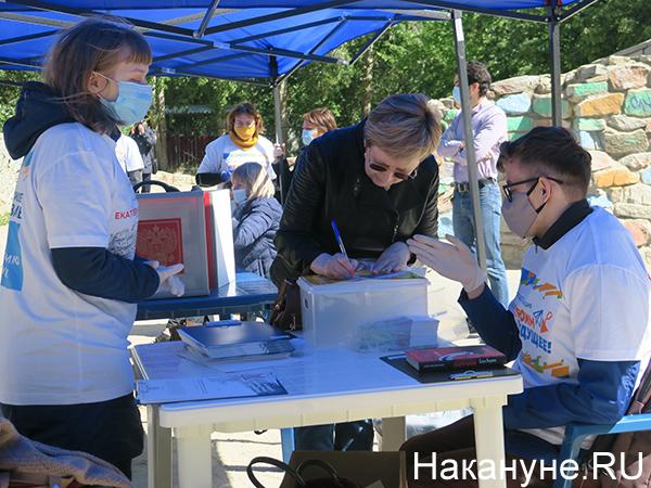 Придомовой участок для голосования по поправкам в Конституцию РФ(2020) Фото: Накануне.RU