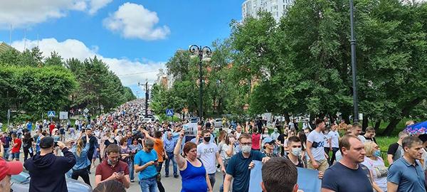 Митинг в поддержку Сергея Фургала в Хабаровске(2020)|Фото: Евгения Пустовит / ТАСС