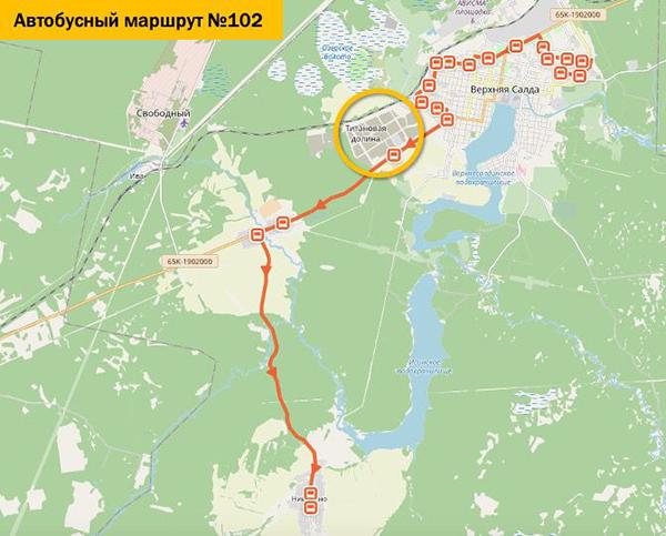 Схема автобусного маршрута №102 в Верхней Салде(2020)|Фото: све.рф