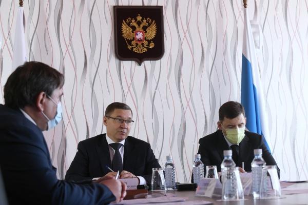 Евгений Куйвашев и Владимир Якушев(2020)|Фото: ДИП Свердловской области