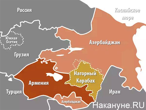 Карта Азербайджана, Армении и Нагорного Карабаха(2020)|Фото: Накануне.RU