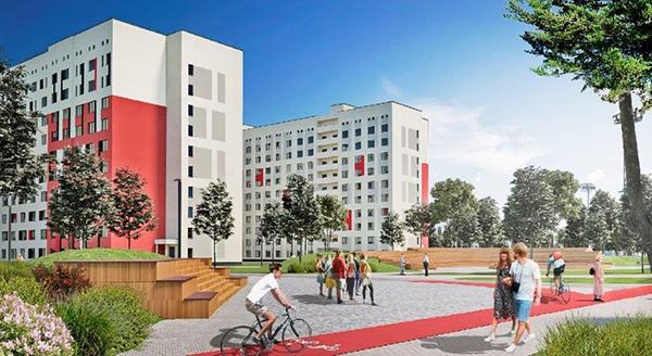 Проект второго комплекса общежитий Универсиады-2023 в районе Новокольцовский(2020)|Фото: Пресс-центр Группы Синара