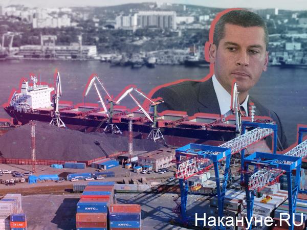 Коллаж, Владивостокский морской торговый порт, Зиявудин Магомедов(2020) Фото: Накануне.RU