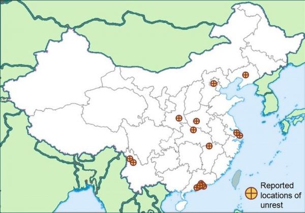 Карта трудовых протестов в Китае в 2010 г.(2020)|Фото: en.wikipedia.org