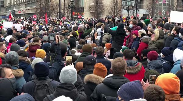 Несанкционированный митинг 23 января в Москве(2021) Фото: t.me/teamnavalny_mos