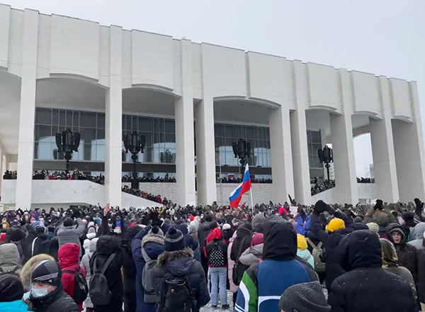 Несанкционированный митинг 23 января в Перми(2021) Фото: t.me/teamnavalny_prm