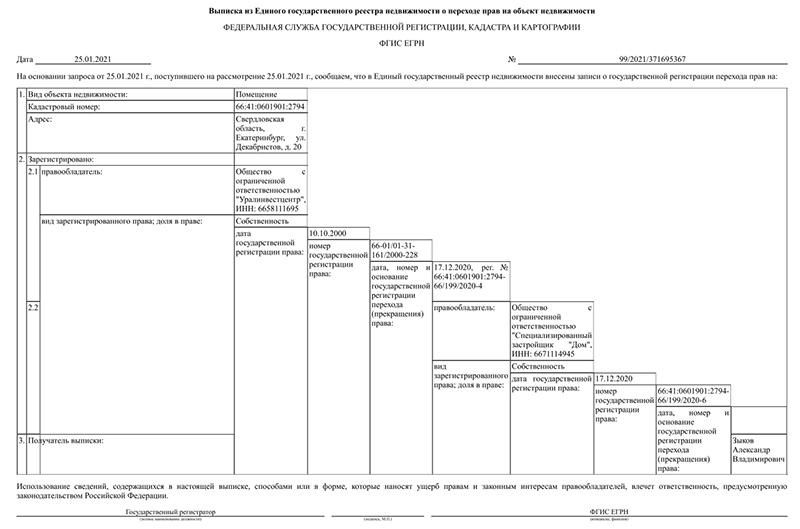 Выписка из ЕГРП о переходе прав на объект(2021)|Фото: Уральский хронооп