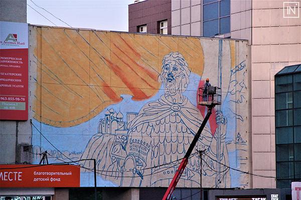 Изображение Александра Невского на стене у Театра эстрады(2021)|Фото: vk.com/inburg
