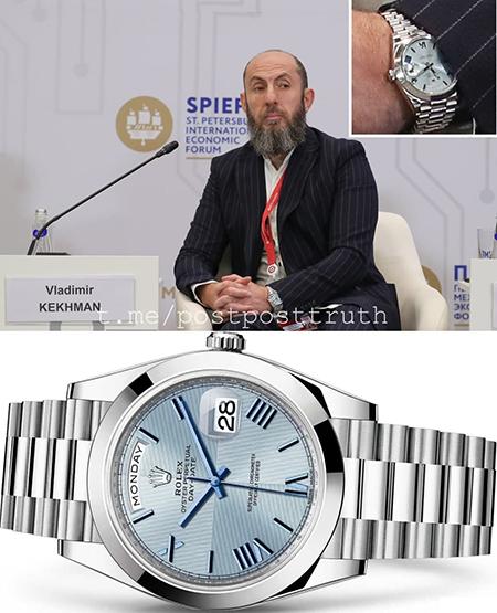 Владимир Кехман с часами Rolex Oyster Day-Date 40 из платины на ПМЭФ(2021)|Фото: t.me/postposttruth