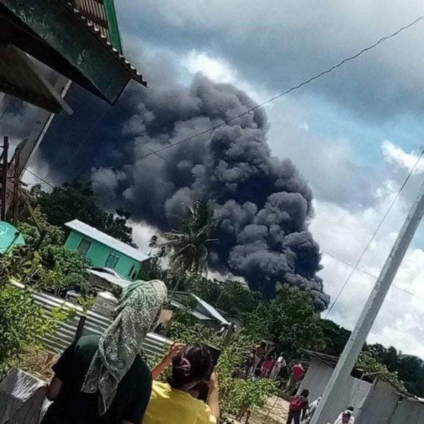 Военный самолёт, падение, Филиппины(2021) Фото: Telegram-канал Baza