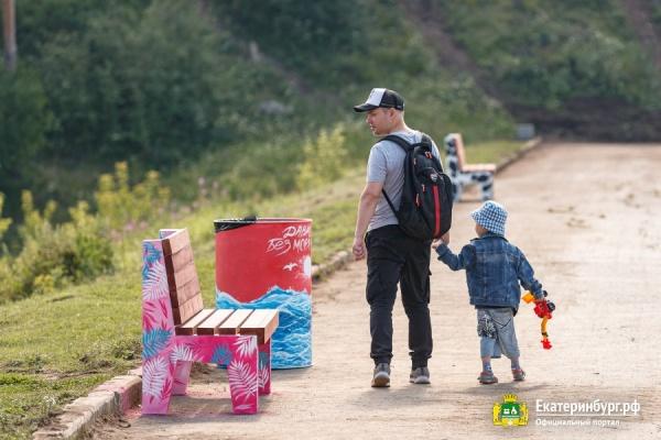 скамейка, благоустройство, семья, отец(2021)|Фото: Екатеринбург.рф, Федор Серков