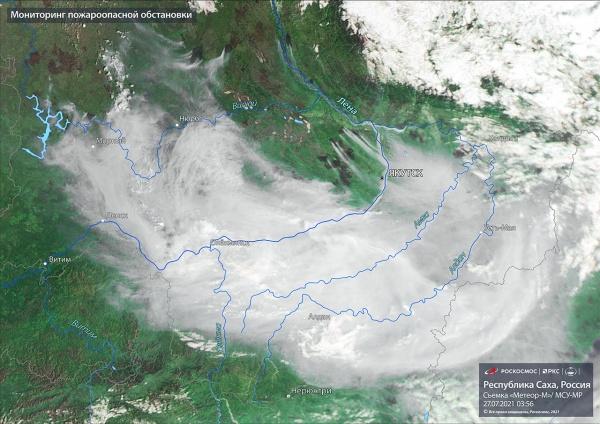 Лесные пожары в Якутии на снимке со спутника.(2021)|Фото: Роскосмос / РКС