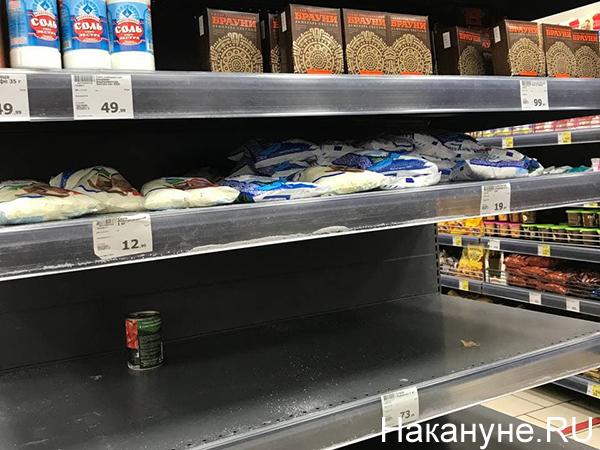 Пустые полки с сахаром в одном из магазинов Екатеринбурга(2021) Фото: Накануне.RU
