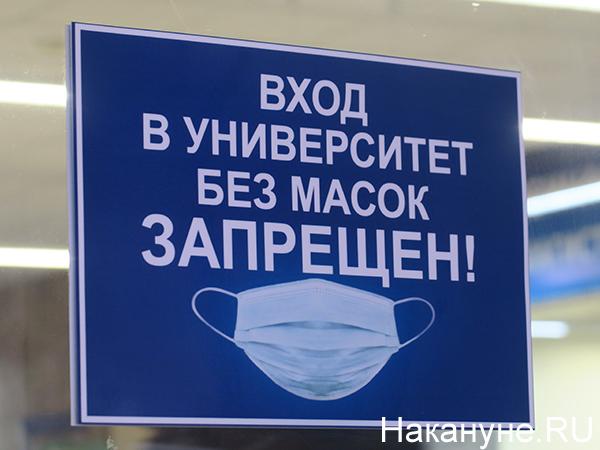 "Надпись ""вход в университет без масок запрещен""(2021)|Фото: Накануне.RU"