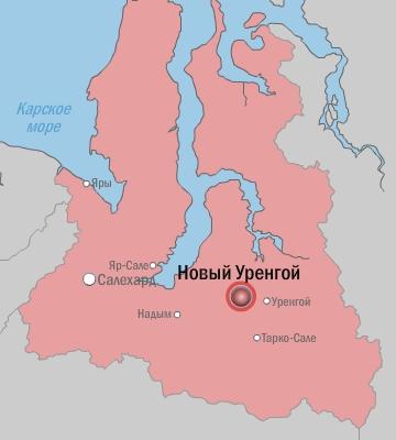 новый уренгой на карте россии карта фото нее