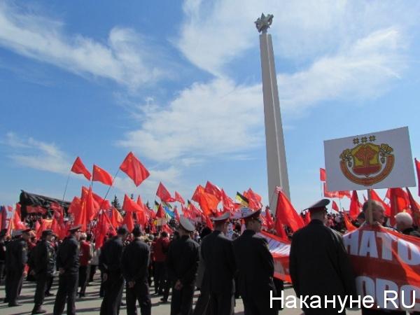 ульяновск, митинг против базы нато, кпрф, красные флаги(2012)|Фото: Накануне.RU