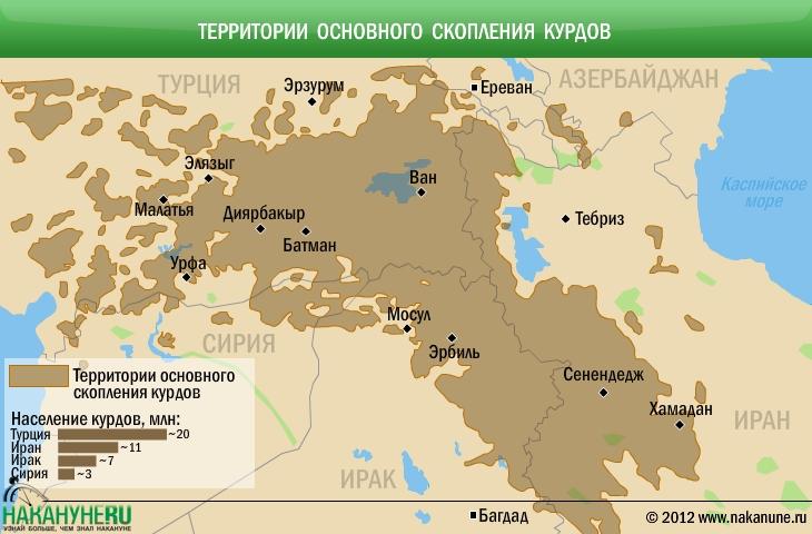 Территории основного скопления курдов, Курдистан|Фото: Накануне.RU