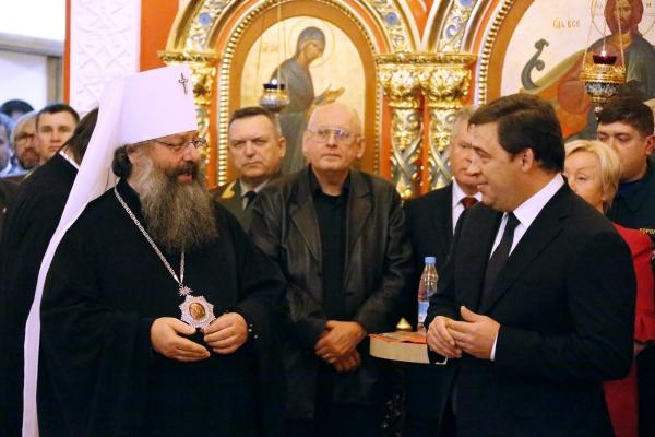 куйвашев, митрополит кирилл, рождество, прием|Фото: пресс-служба губернатора Свердловской области
