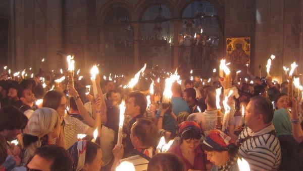 благодатный огонь, схождение, иерусалим, кувуклия, храм гроба господня, пасха|Фото:РИА Новости