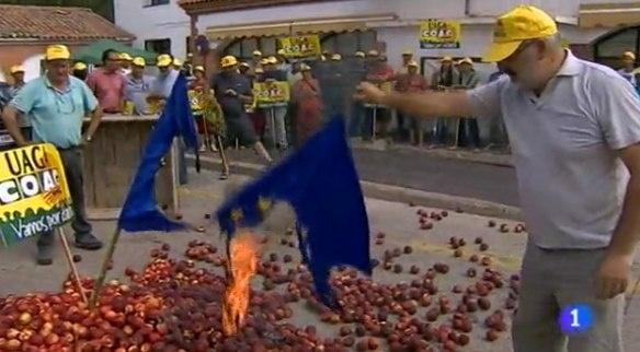испанские фермеры,сожгли флаг ЕС, санкции|Фото: