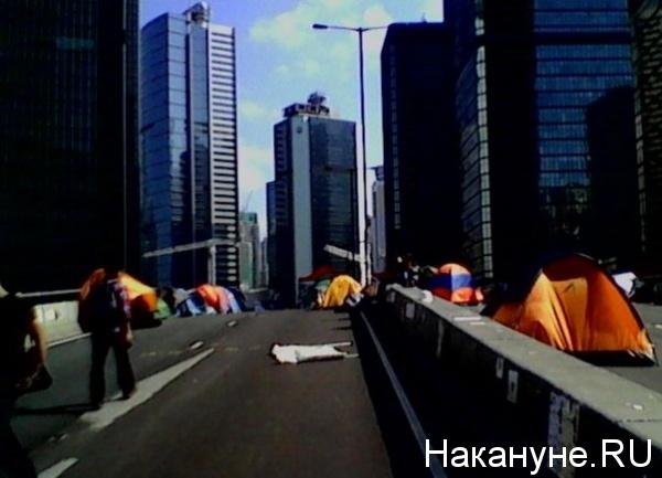 Гонконг, Китай, акция, палаточный городок(2014)|Фото: Накануне.RU