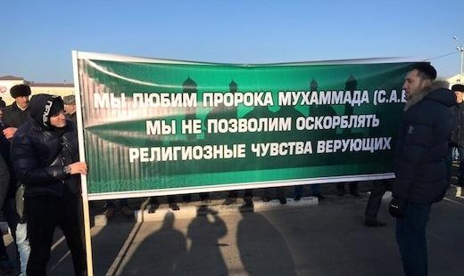 Грозный, митинг, карикатуры Фото:rusnovosti.ru