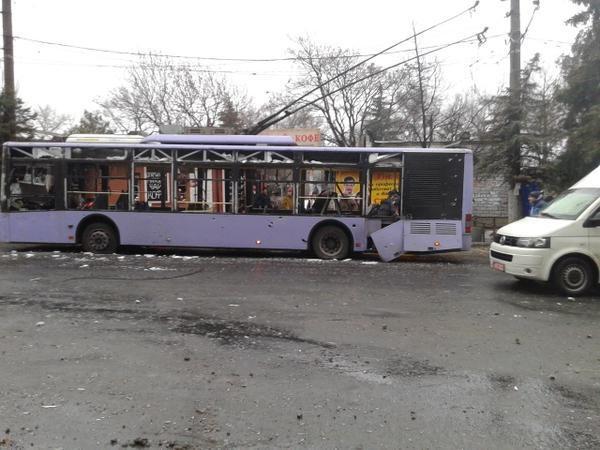 Донецк, автобус, снаряд|Фото:pbs.twimg.com
