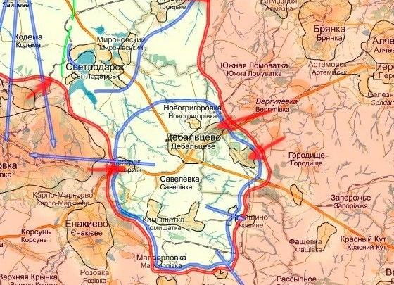 Дебальцево, карта ДНР, ЛНР|Фото: