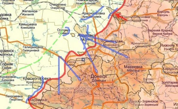 Новороссия, карта, Дебальцево|Фото:cassad.net