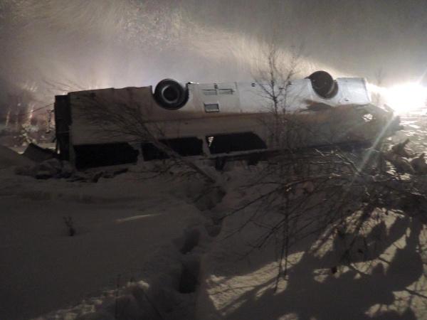 автобус, опрокидывание, трасса, Аромашево|Фото: ГИБДД Тюменской области