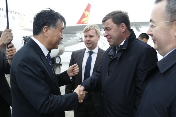Евгений Куйвашев, Дмитрий Рогозин, Ван Ям|Фото: Департамент информационной политики губернатора