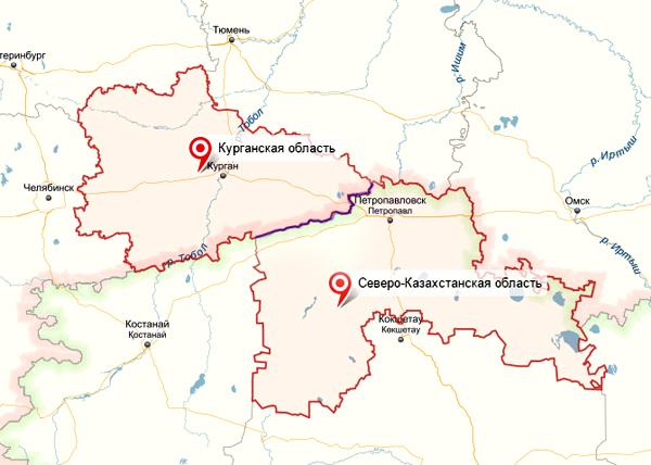 Курганская область, Северо-Казахстанская область, карта|Фото: Яндекс.Карты