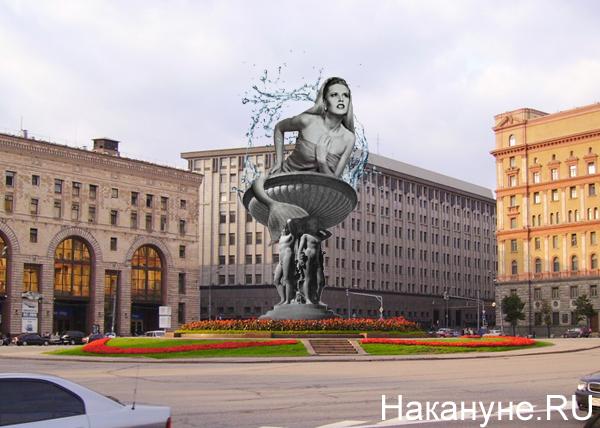 коллаж, Васильева, памятник, Москва, Лубянка, фонтан, Дзержинский|Фото: Накануне.RU