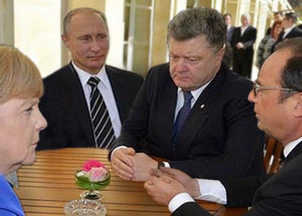 коллаж, Путин, Порошенко, Меркель, Олланд, нормандская четверка|Фото: Накануне.RU