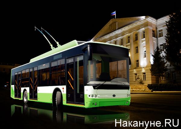 коллаж, Курган, троллейбус, здание городской администрации|Фото: Накануне.RU