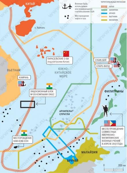 южно-китайское море, претензии, спор, Китай, Филлипины, Бруней, Малайзия, Вьетнам, Камрань Фото: Коммерсант