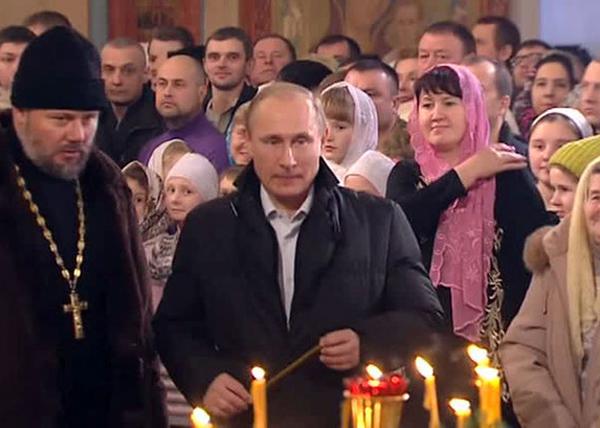 Путин, Рождество, храм, церковь, свечка(2016) Фото: vesti.ru