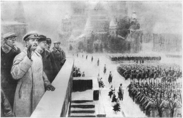Сталин, парад 7 ноября 1941, Красная площадь, Мавзолей|Фото: