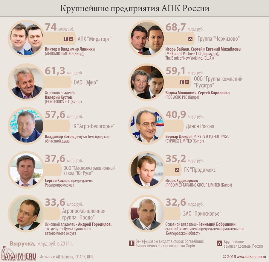 инфографика, крупнейшие предприятия АПК России|Фото: Накануне.RU