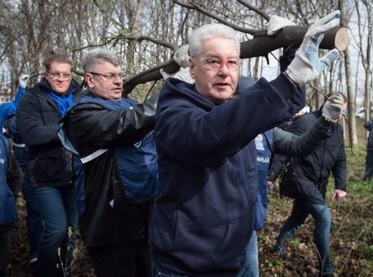 Сергей Собянин, субботник Фото: пресс-служба Сергея Собянина