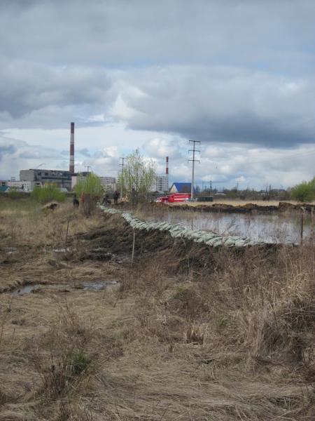 Возведение временной дамбы в районе п. Кулацкий|Фото: МЧС по Курганской области